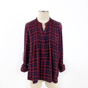 Gap- Navy & Red Plaid Pleated Woven Shirt SZ Small